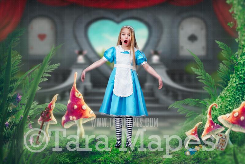 Alice in Wonderland Mushrooms - Wonderland Door with Playing Cards Hearts- JPG file Digital Background Backdrop