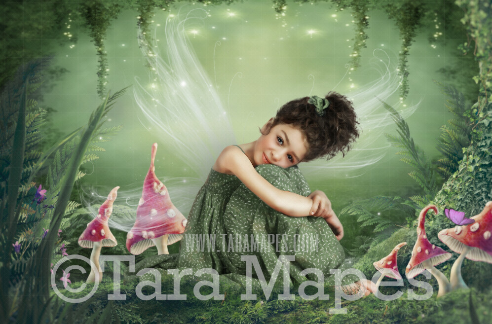 Fairy Clearing - Fairy Forest - Enchanted Fairy Scene - Creamy Photoshop Digital Background / Backdrop