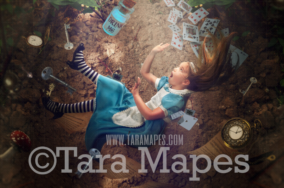 Alice in Wonderland Down the Rabbit Hole - Alice in Wonderland Falling - JPG file Digital Background Backdrop
