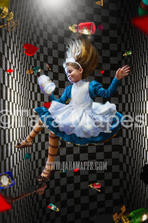 Alice Chess Tunnel -Wonderland Chess Tunnel with Keys, Drink Me, Cards - JPG file Digital Background Backdrop