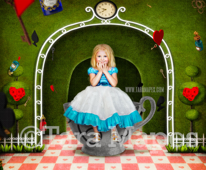 Alice in a Big Tea Cup  - Alice in Wonderland Garden - JPG file Digital Background Backdrop