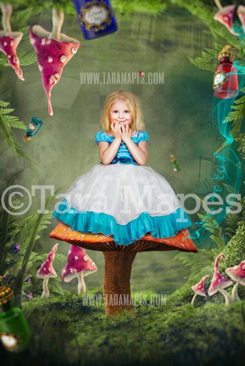 Alice Mushroom Seat -Wonderland Mushroom Land - JPG file Digital Background Backdrop