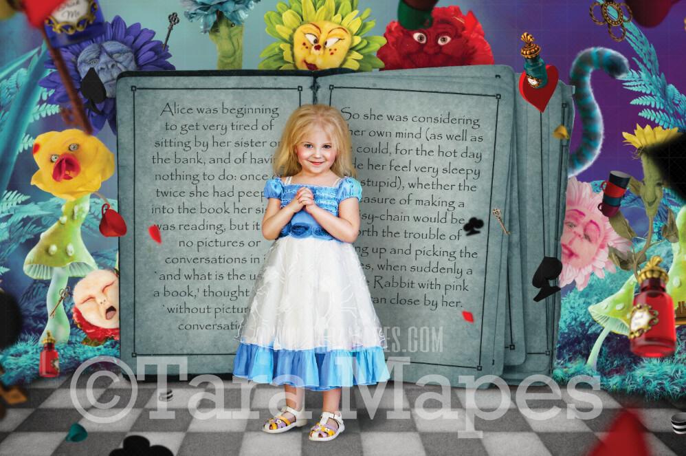 Alice Book Digital Background  - Alice's Wonderland Talking Flowers and Book Fantasy Scene - JPG file Digital Background Backdrop