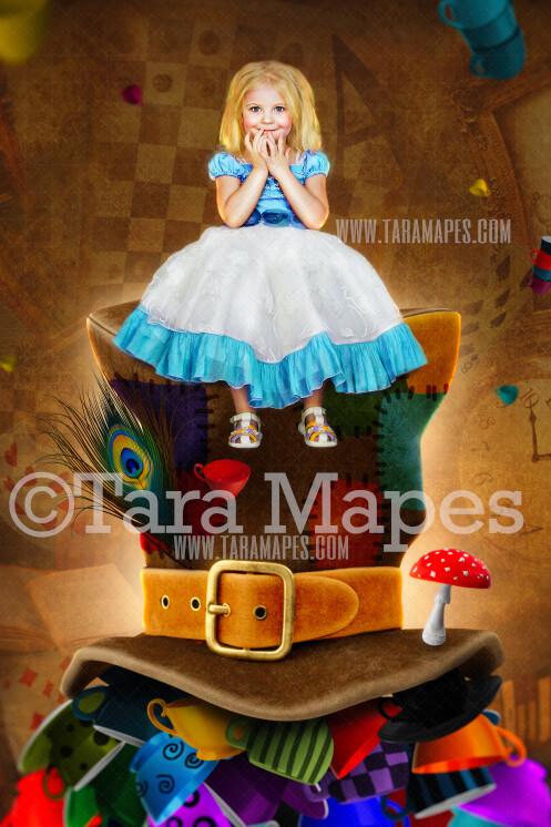 Alice in Wonderland Mad Hatter Digital Background  - Alice's Wonderland Colorful Hat with Teacups - JPG file Digital Background Backdrop