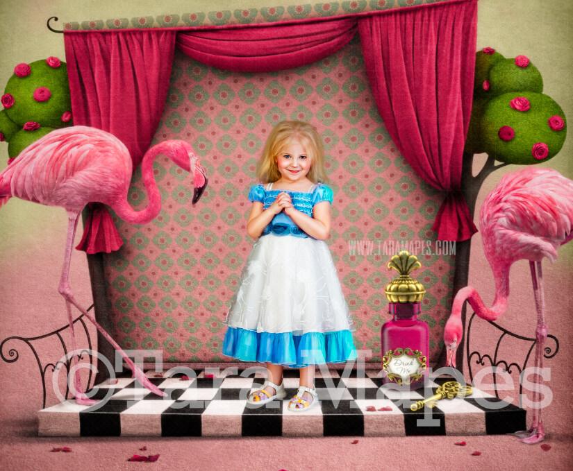 Alice Wonderland Flamingo Room - Wonderland Flamingo in Wonderland  - JPG file Digital Background Backdrop