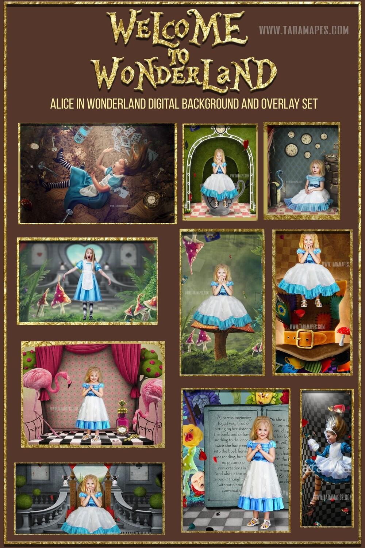 ALICE IN WONDERLAND Digital Background Pack by Tara Mapes - 10 Magical Alice digital backgrounds