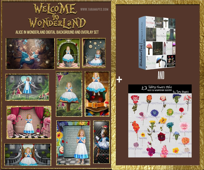 The ULTIMATE ALICE IN WONDERLAND Digital Background and Overlay Set by Tara Mapes -  16 Digital Backgrounds and 34 overlays Alice in Wonderland Inspired Digital Backgrounds and Overlays