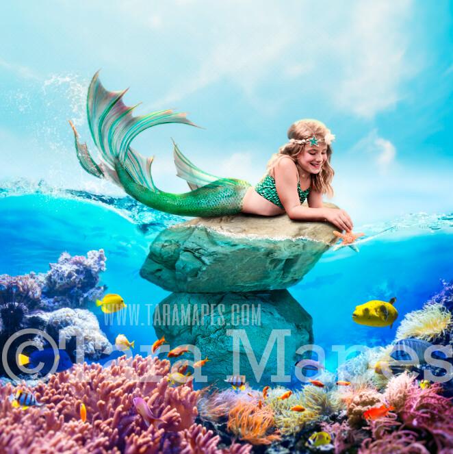 Mermaid Rock in Ocean with Fish - Underwater Mermaid Rock - Beautiful Mermaid Scene - JPG File Digital Background