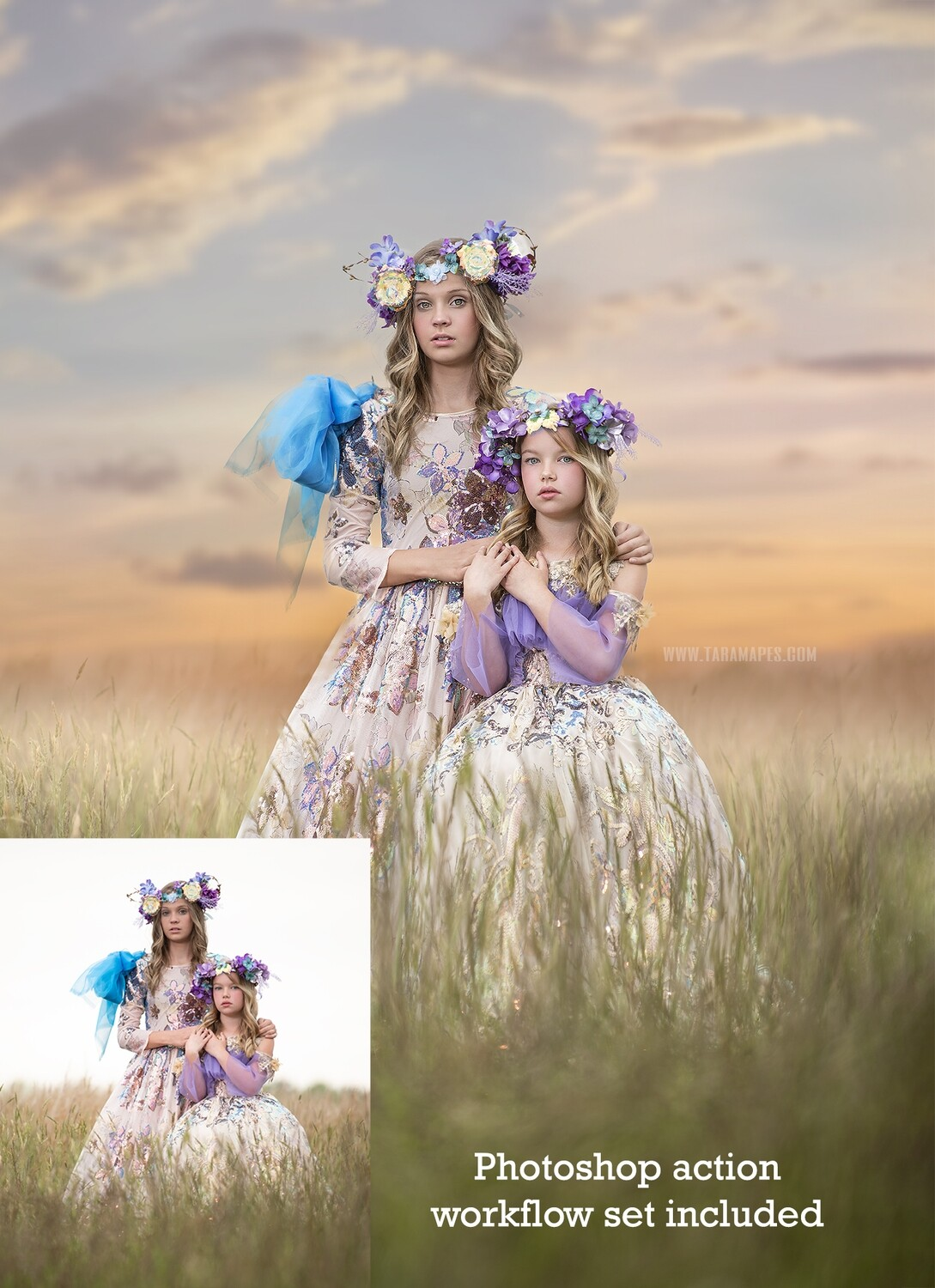 Sisters Painterly Photoshop Tutorial- Skin & Portrait Retouch Action Workflow Set Included -- Fine Art Tutorial by Tara Mapes