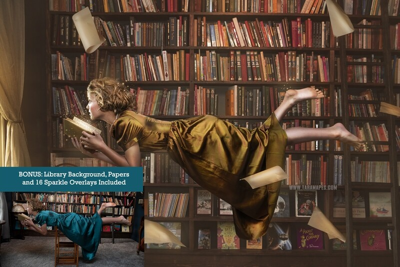 Magic Library Photoshop Tutorial - Compositing Tutorial and Editing - Digital Background, 16 Magic Sparkles Overlays and Falling Papers PNG INCLUDED