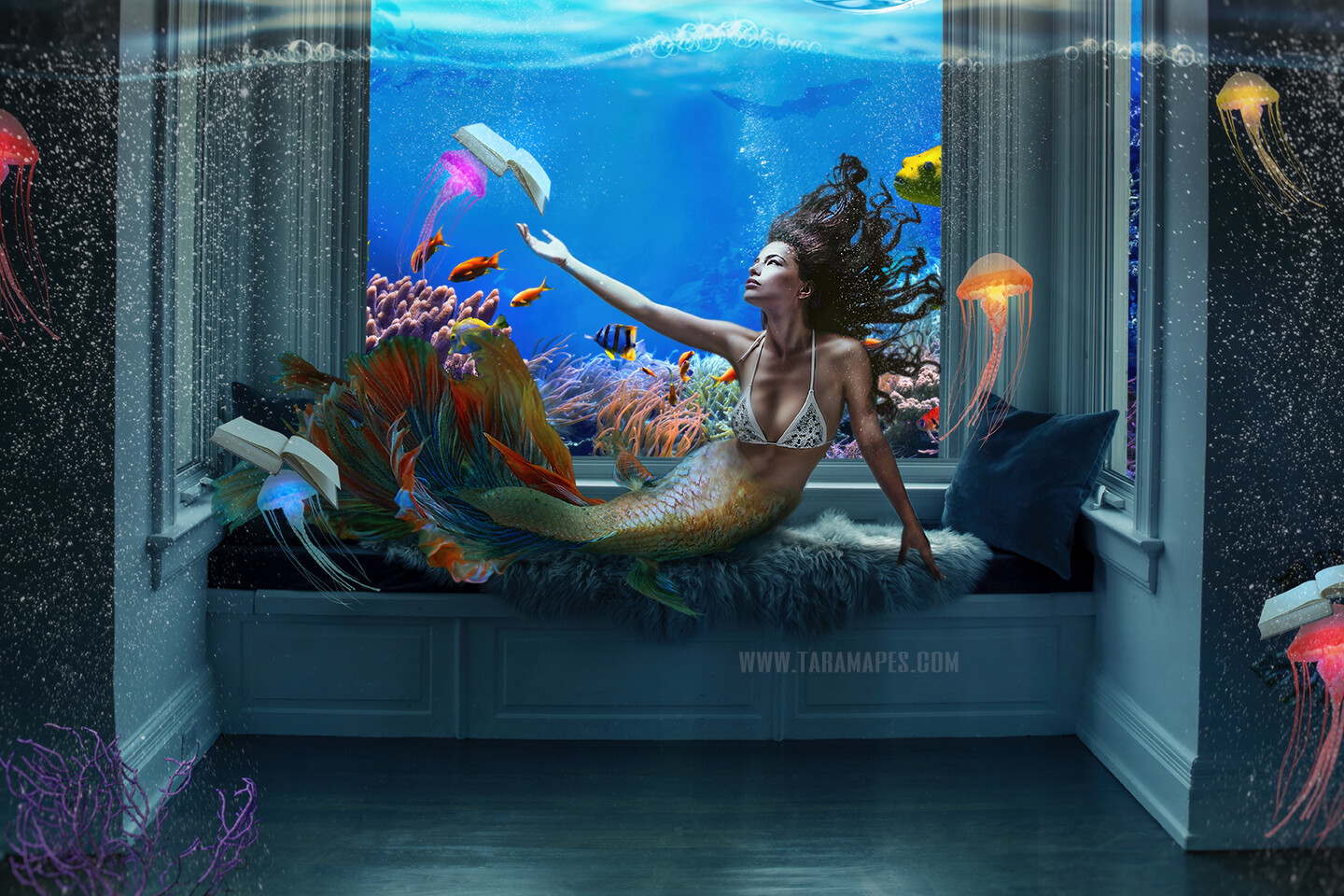 Mermaid Reading Room - Mermaid Room Underwater with Jelly Fish and Books-  Layered PSD Mermaid Digital Background Backdrop - Separate Element Layers -Tail Layer is also Separate