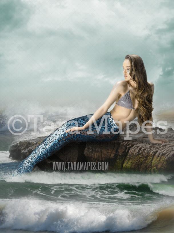 Mermaid Rock in Ocean Stormy Weather - Mermaid Rock  - Beautiful Mermaid Scene - JPG File Digital Background