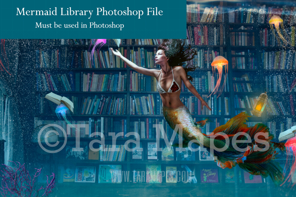 Mermaid Library  - Mermaid Book Room Underwater with Jelly Fish and Books-  Layered PSD Mermaid Digital Background Backdrop - Separate Element Layers -Tail Layer is also Separate
