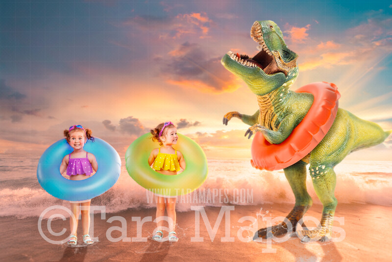 Dino Beach - Dinosaur on Beach - T-Rex on Beach with Swim Ring Funny Digital Background JPG file