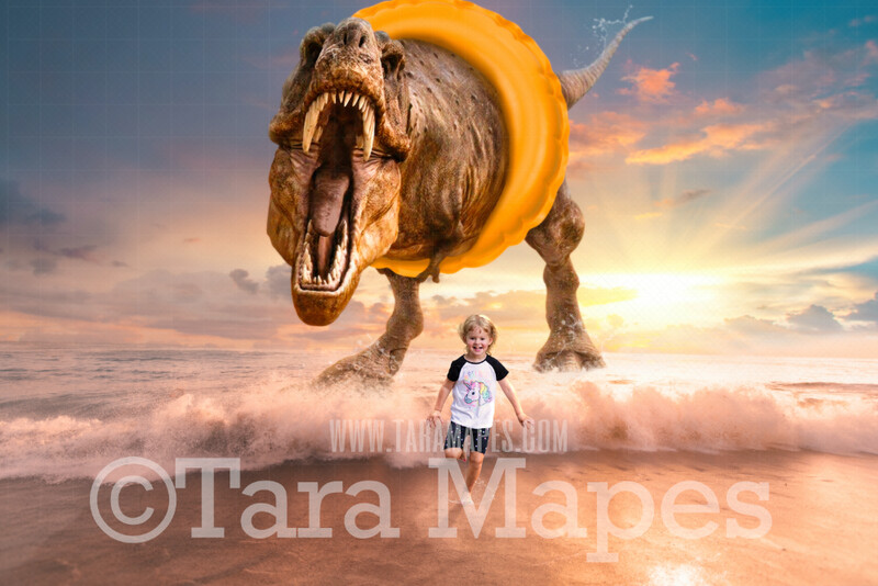 Dino Beach - Dinosaur Chase on Beach - T-Rex on Beach with Swim Ring Funny Digital Background JPG file