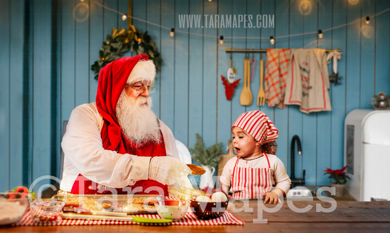 Baking Cookies with Santa - Blue Christmas Kitchen with Santa - Christmas Holiday Digital Background Backdrop FREE SPARKLES OVERLAY INCLUDED