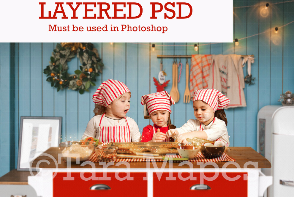Blue Christmas Kitchen - Christmas Kitchen Island - Layered PSD Fashion Digital Background Backdrop -