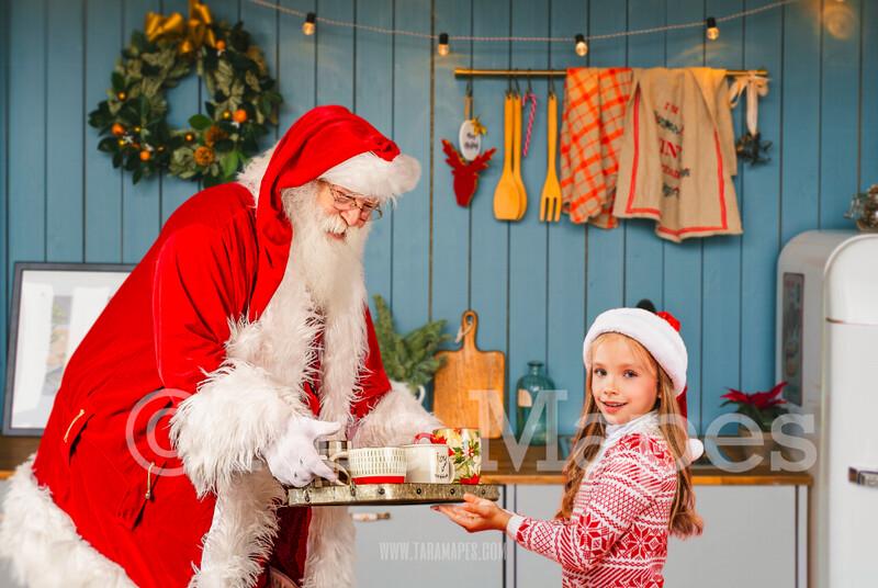 Christmas Digital Backdrop - Santa With Tray of Hot Cocoa - Blue Christmas Kitchen with Santa - Christmas Holiday Digital Background Backdrop