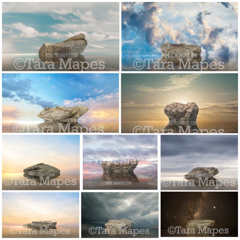 Mermaid Rocks Digital Backdrops- TEN PACK MERMAID ROCKS - Rocks in Ocean - 10 JPG Files Digital Backgrounds