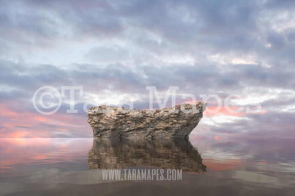 Mermaid Digital Backdrop - Mermaid Rock in Ocean 1  - Mermaid Rock  -  Digital Background