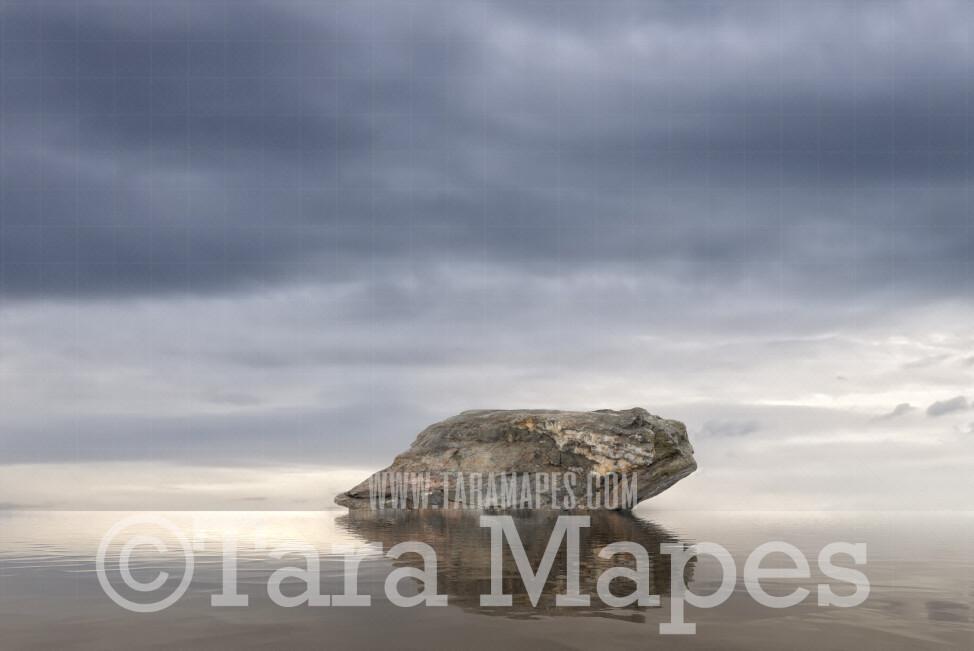 Mermaid Digital Backdrop - Mermaid Rock in Ocean 7  - Mermaid Rock  -  Digital Background
