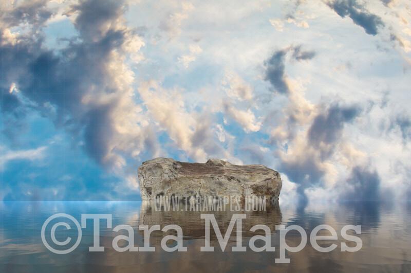 Mermaid Digital Backdrop - Mermaid Rock in Ocean 6  - Mermaid Rock  -  Digital Background