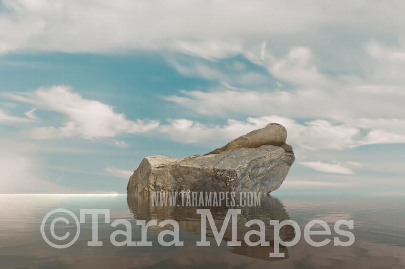 Mermaid Digital Backdrop - Mermaid Rock in Ocean 3  - Mermaid Rock  -  Digital Background