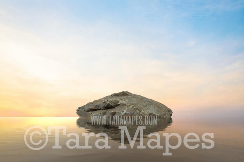 Mermaid Digital Backdrop - Mermaid Rock in Ocean 4  - Mermaid Rock  -  Digital Background