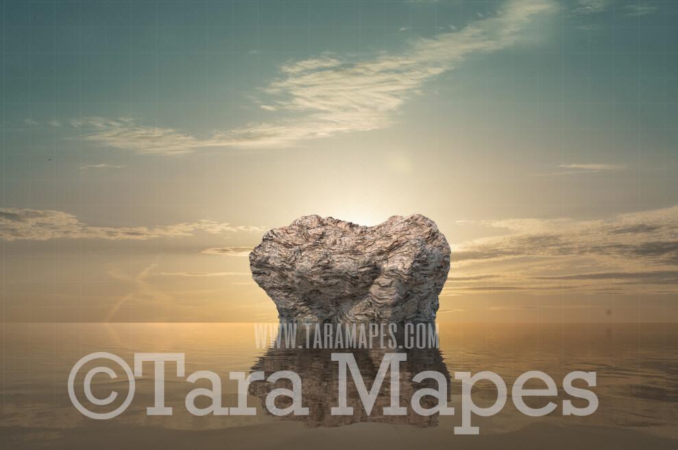 Mermaid Digital Backdrop - Mermaid Rock in Ocean 8  - Mermaid Rock  -  Digital Background