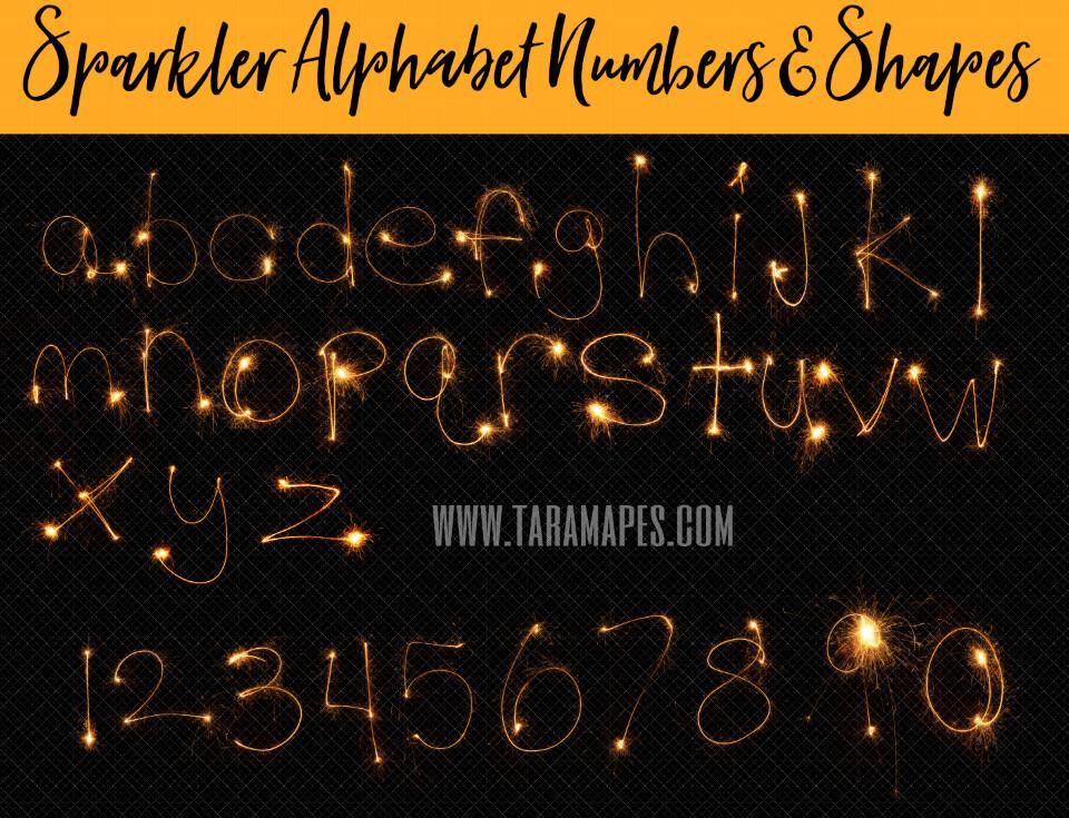 Sparkler Overlays - Sparkler Alphabet Numbers and Shapes - Sparkler Words - Capital Letters Lower Case Numbers and Shapes - Fireworks Letters Overlays