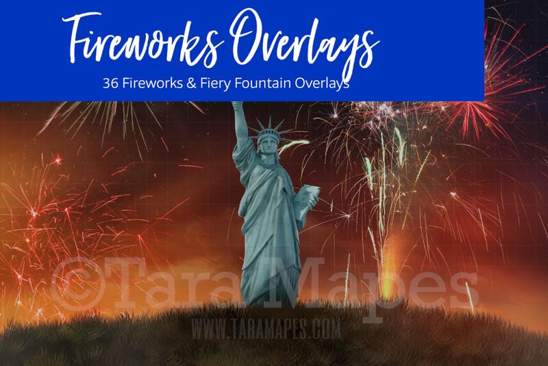 Fireworks Overlays - 36 Fireworks Overlays - Colorful Fireworks Overlays