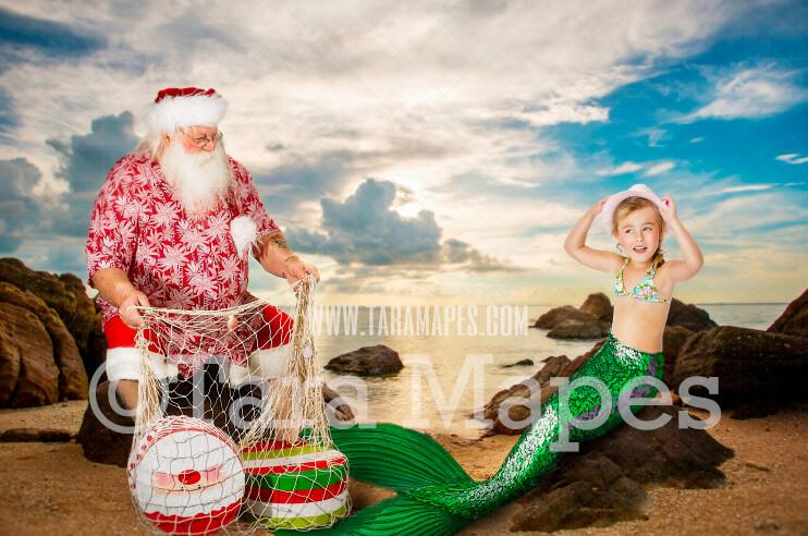 Mermaid Digital Backdrop- Christmas Mermaid Digital Background - Santa on Beach - Mermaid Tail - Mermaid Rock