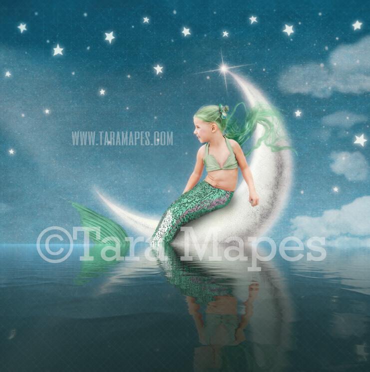 Mermaid Digital Backdrop - Mermaid Moon  - Mermaid Tail on Whimsical Moon in Ocean Mermaid  -  Digital Background JPG file