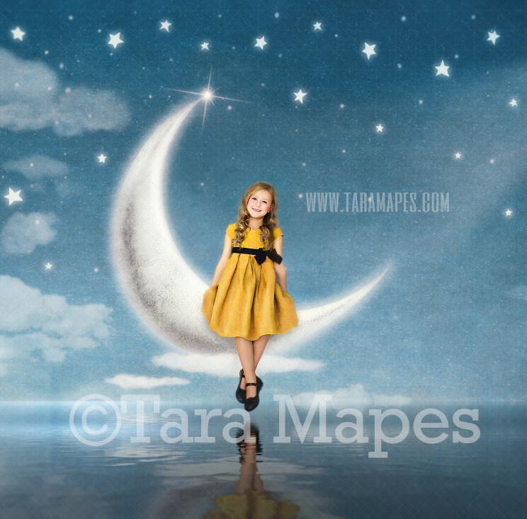 Moon Seat Digital Background - Sitting on the Moon Scene - Whimsical Crescent Moon Over Ocean Digital Background JPG file