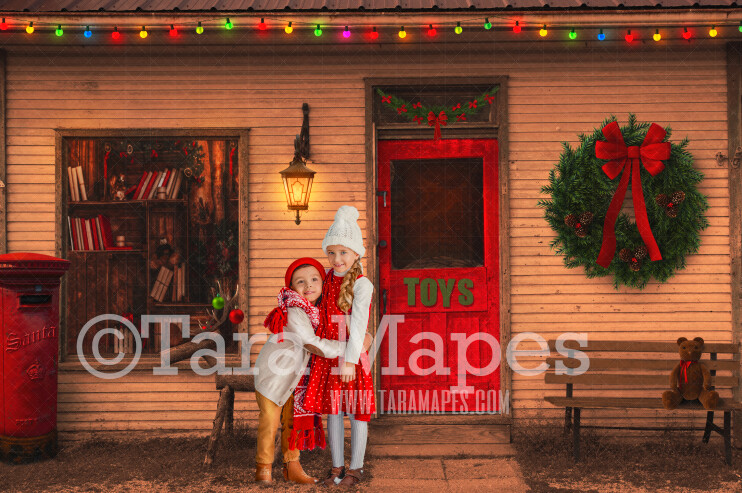 Christmas Shop in Christmas Town- Holiday Christmas Street - Christmas Town Winter Wonderland - FREE SNOW OVERLAY included - Storefront
