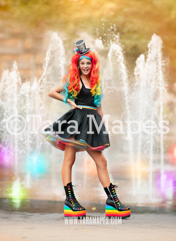 Fountain Digital Background Backdrop - Colorful City Water Fountain with Lights for Portraits Digital Background