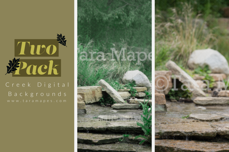 Creek Digital Background Backdrop - TWO PACK - Creek Digital Backdrops for Portraits Digital Background