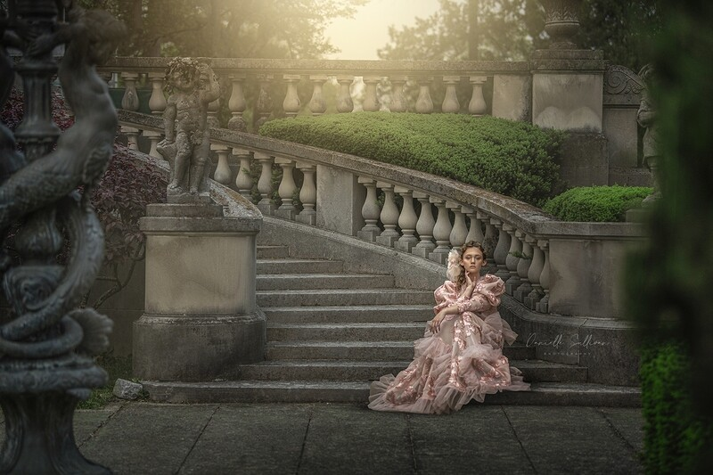 Castle staircase - Princess  stairs- Castle Stairs in a Garden - Garden Stairs - Soft Creamy Background - JPG file - Photoshop Digital Background /  Backdrop