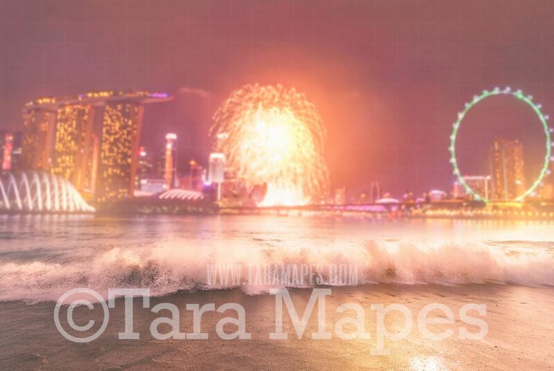 Ferris Wheel on Beach Digital Backdrop - Fireworks and Carnival Rides Beach Digital Backdrop JPG file - Fourth of July Celebration Backdrop