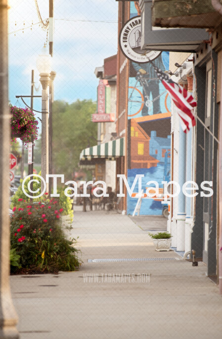 City Digital Backdrop- City Sidewalk with Flowers and Shops Digital Background