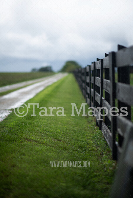 Country Fence on Dirt Road Digital Background-  Stormy  Country Road Digital Backdrop