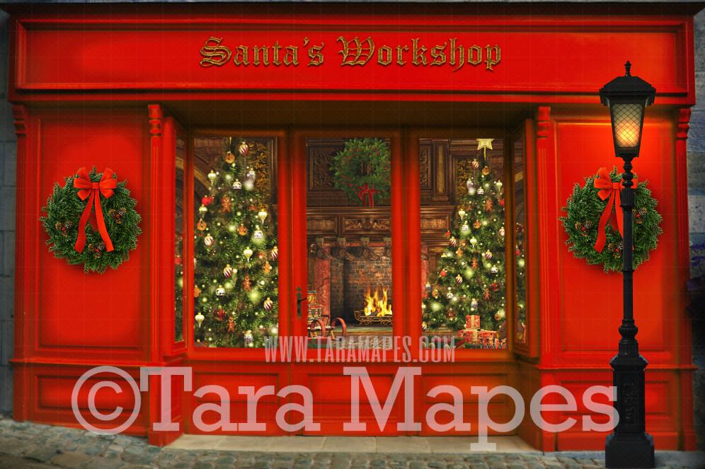 Christmas Digital Background - Santa's Workshop - Christmas Shop in Christmas Town- Holiday Christmas Street - Christmas Town Winter Wonderland - FREE SNOW OVERLAY included - Storefront