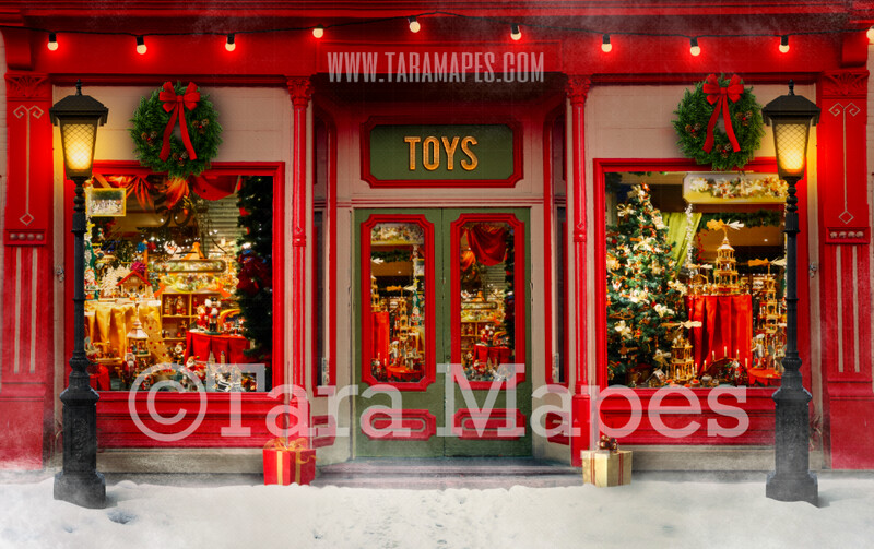 Christmas Digital Background - Christmas Toy Shop - Christmas Shop in Christmas Town- Holiday Christmas Street - Santa Toy Shop Workshop - FREE SNOW OVERLAY included - Storefront