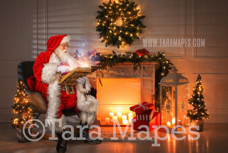 Santa Reading Magic Book by Fireplace  - Painterly Santa Scene - Painterly Christmas Background - Holiday Digital Background Backdrop
