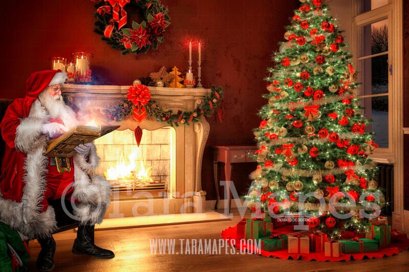 Santa Reading Book by Fireplace  - Santa Reading Magic Book Christmas Digital Background Backdrop
