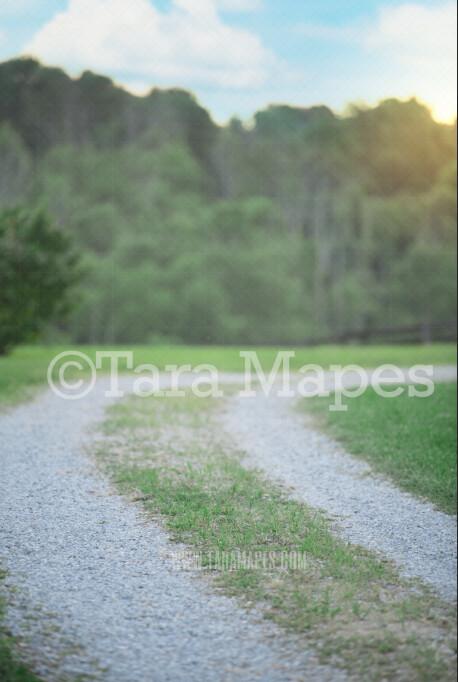 Country Gravel Road Digital Background-  Nature Digital Backdrop
