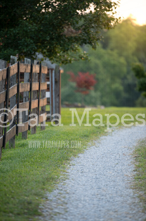 Country Fence - Country Gravel Road Digital Background-  Nature Digital Backdrop