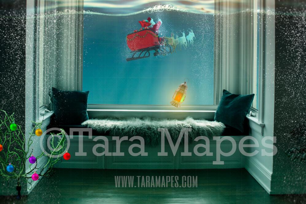 Mermaid Christmas Window  - Santa Sleigh in Ocean at Underwater Window - Mermaid  Digital Background Backdrop JPG