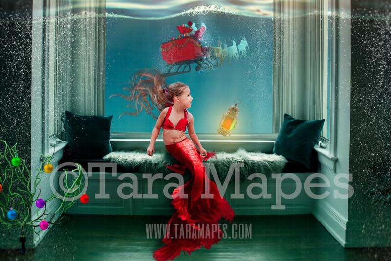 Christmas Window Seat with Mermaid Tail  - Santa in Ocean at Underwater Magical Window - Mermaid  Digital Background Backdrop JPG
