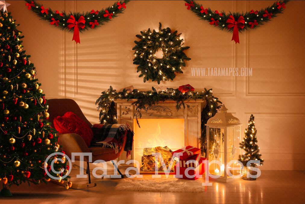 Cozy Christmas Room with Fireplace  - Vintage Holiday Scene - Christmas Background - Holiday Digital Background Backdrop